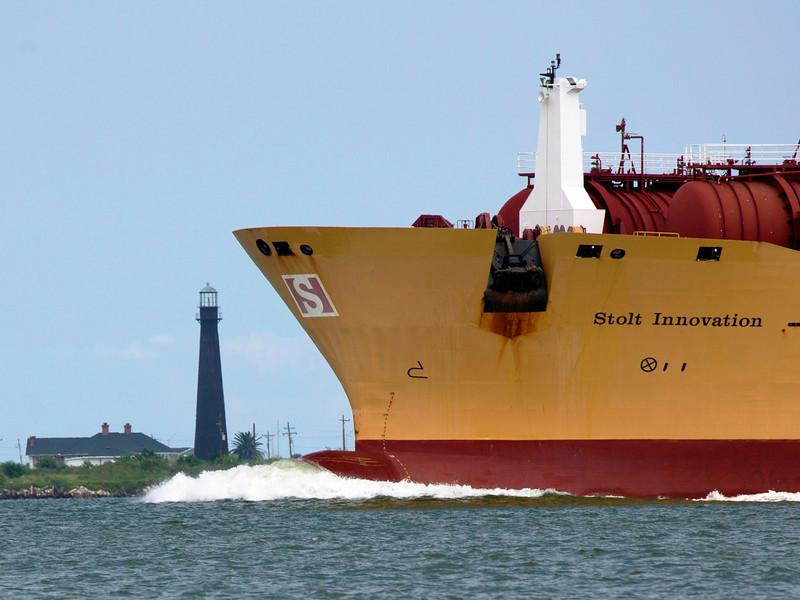 The Stolt Tanker, Innovation, passes the Bolivar Light.