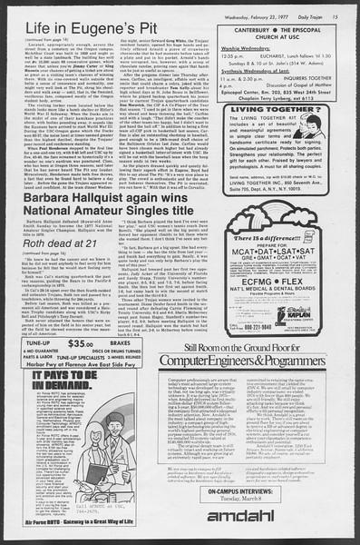 Daily Trojan, Vol. 71, No. 10, February 23, 1977