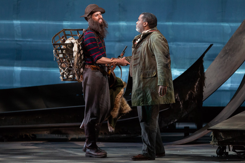 "Wm. Clay Thompson as Harasta, the Poacher, and Eric Owens as the Forester in The Glimmerglass Festival's 2018 production of Janáček's ""The Cunning Little Vixen."" Photo: Karli Cadel/The Glimmerglass Festival"