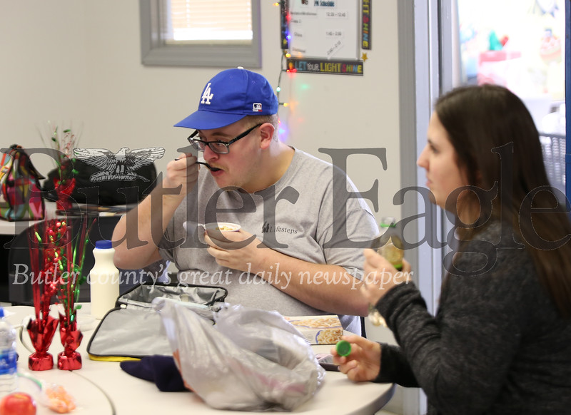 Clayton, a lifsteps program member, sits down to lunch with instructor's assistant Stephanie Colosimo. Seb Foltz/Butler Eagle