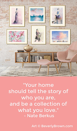 Wall Art Ideas & Quote about Interior Design by Nate Burkus - Artwork by Beverly Brown - Gallery Wall Ideas with Blush Pink Decor - www.beverlybrown.com
