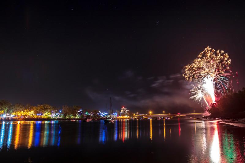 Midnight fireworks New Years Eve Rockhampton