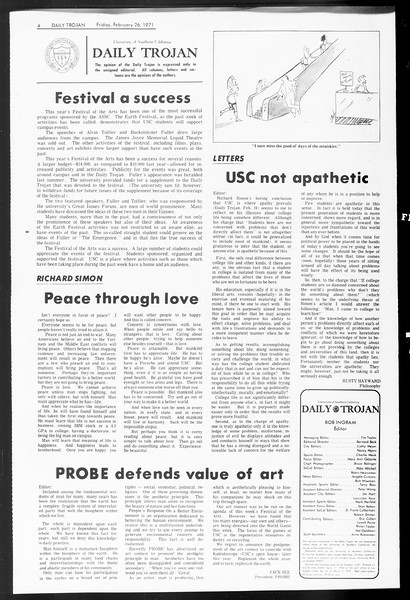 Daily Trojan, Vol. 62, No. 77, February 26, 1971