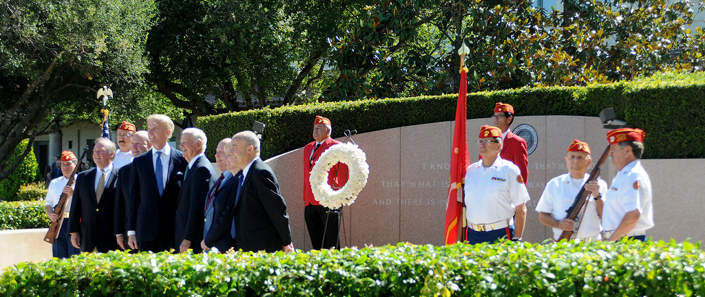. On June 5, 2014, the Ronald Reagan Presidential Foundation commemorated anniversaries with a special program at his Presidential Library that focused on his legacy and impact on the country after so many years since leaving office.  Wreath Laying Ceremony at President Reagan�s Gravesite included Secretary James Baker and Reagan Foundation Board Chairman Frederick J. Ryan, Jr. with the assistance of the Marine Corps League President Ronald Reagan Detachment. (Photo by Dean Musgrove/Los Angeles Daily News)