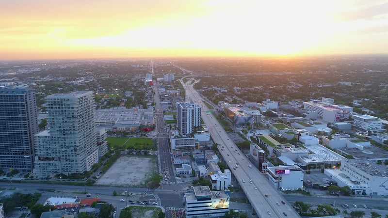 Aerial b roll footage Miami city sunset