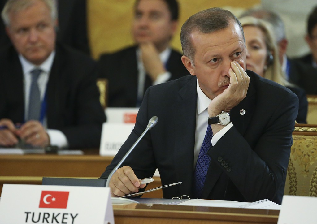 . Turkish Prime Minister Tayyip Erdogan attends the first working session of the G20 Summit in Constantine Palace in Saint Petersburg, on September 5, 2013. AFP PHOTO / SERGEI  KARPUKHIN/AFP/Getty Images