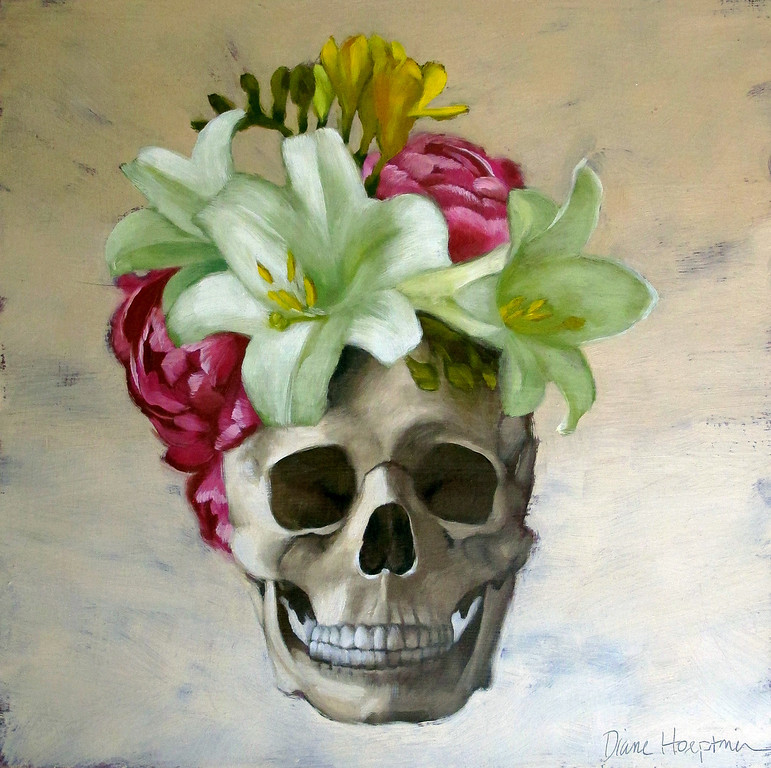 . �New Do,� an oil painting on wood by Diane Hoeptner, will be included in �Skull and Skeleton in Art V: Folk Art to Pop Culture,� which runs through Nov. 3 at the Gallery at Lakeland Community College in Kirtland. (Courtesy of the Gallery at Lakeland)