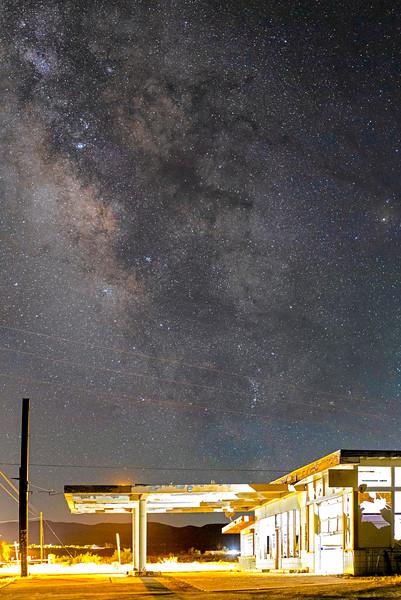 Milky Way Over No Service Gas Station In Borrego Springs
