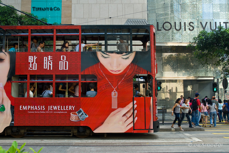 aeamador©-HK08_DSC0071  Hong Kong, downtown area, near ifc tower. I was very impressed by the affluence evidenced in this area. Hong Kong is quite a chic and fine place. The Hong Kong trolley or tram. They are all different because they are moving ad billboards.