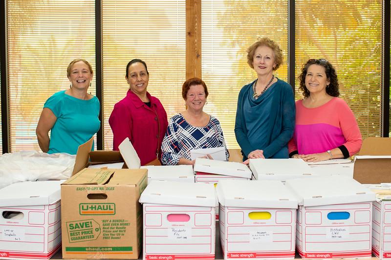 Dean Of University Libraries, Dr. Catherine Rudowsky (left), Peggy Bañales, Chris Davis Garcia, Ann Hodges, and Brenda Hamby.