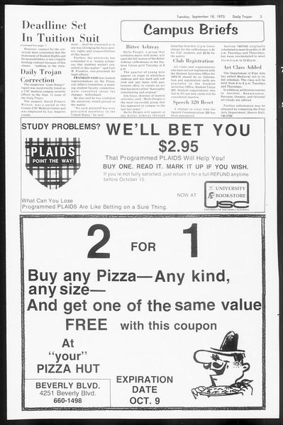 Daily Trojan, Vol. 66, No. 2, September 18, 1973