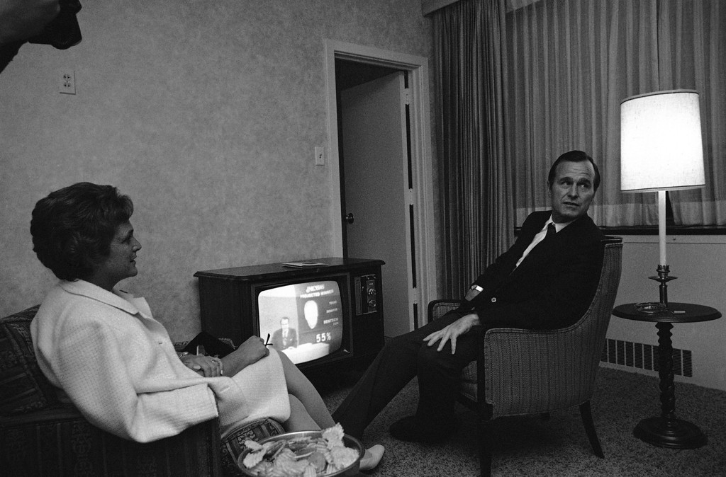 . Rep. and Mrs. George Bush are shown in Houston as a network television program predicted his defeat for the U.S. Senate against Lloyd Bentsen the Democratic candidate on Nov. 3, 1970. Bush watched the returns in a hotel suite. (AP Photo/FK)