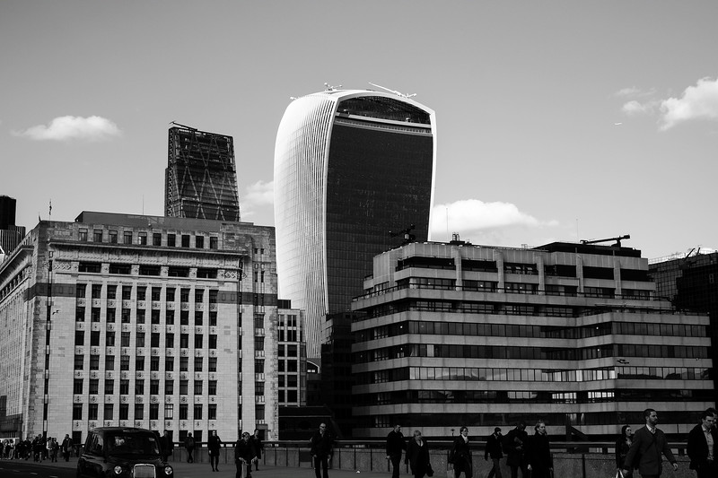 Architecture seen from London Bridge, London, United Kingdom