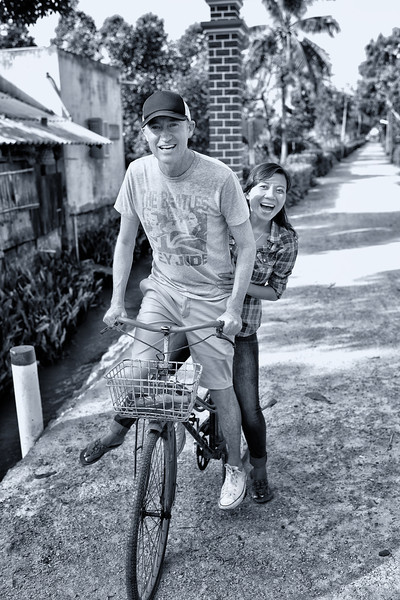 Tu and I riding bikes in Vinh Long Vietnam.  Frank McKenna, FrankieFoto