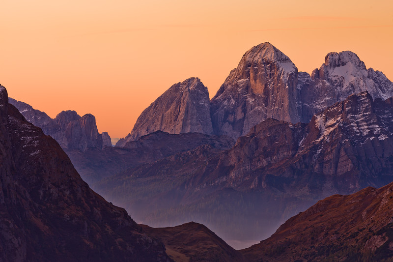 Morning View from Passo Padon, Dolomites, Italy