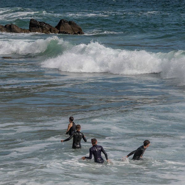 Family in the Atlantic Ocean, Ballyferriter, County Kerry, Ireland
