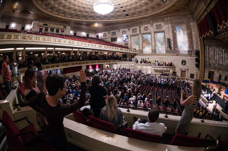 Graduate process into Kodak Hall // University of Rochester School of Nursing Commencement, Kodak Hall at Eastman Theatre May 17, 2019.  // photo by J. Adam Fenster / University of Rochester
