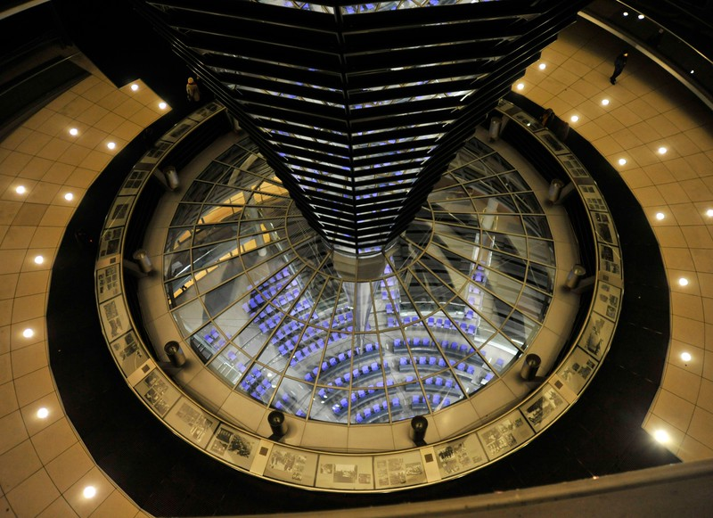 View from inside the Reichstag Dome of the German Bundestag (Parliament) below