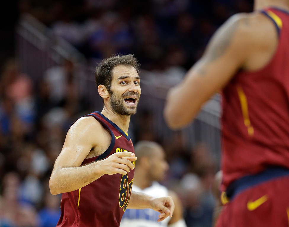 . After making a 3-point shot Cleveland Cavaliers\' Jose Calderon, left, gestures to teammate Channing Frye, thanking him for the assist during the second half of an NBA preseason basketball game against the Orlando Magic, Friday, Oct. 13, 2017, in Orlando, Fla. Cleveland won 113-106. (AP Photo/John Raoux)