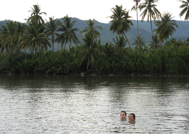 Taking a dip in Kampot's very fresh river - a great spot for a swim on a hot Cambodian day.
