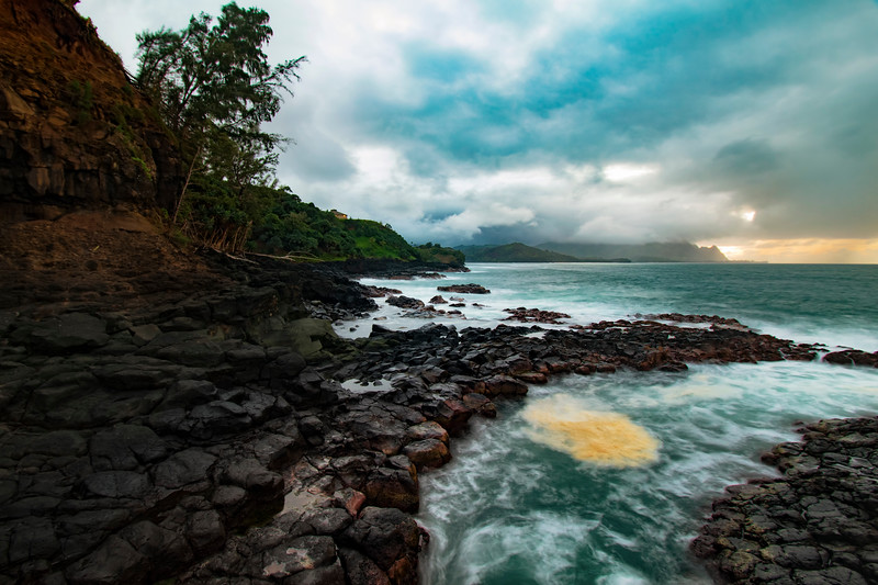 Lava Rocks at Princeville shoreline, Kauai, Hawaii