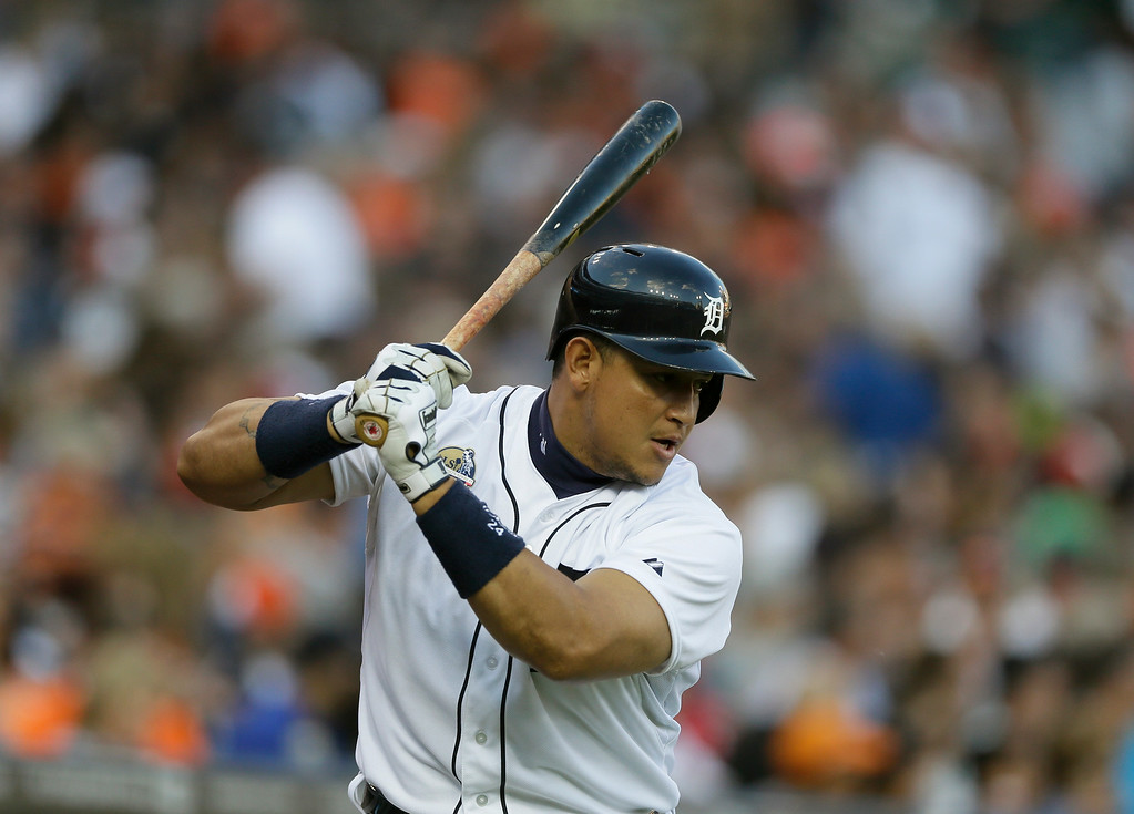 . Detroit Tigers\' Miguel Cabrera prepares to bat during the fourth inning of a baseball game against the Tampa Bay Rays in Detroit, Friday, July 4, 2014. (AP Photo/Carlos Osorio)