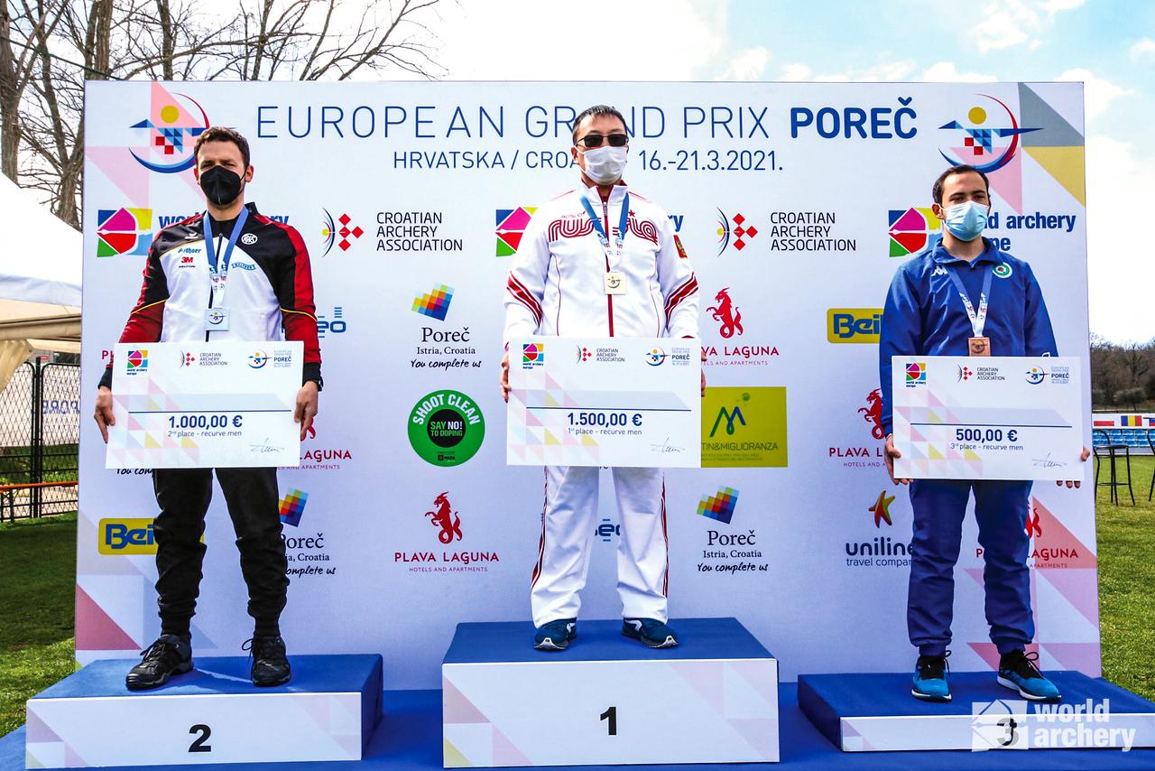 The recurve men's podium at the European Grand Prix in Porec in 2021.