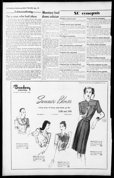 Daily Trojan, Vol. 36, No. 99, April 12, 1945