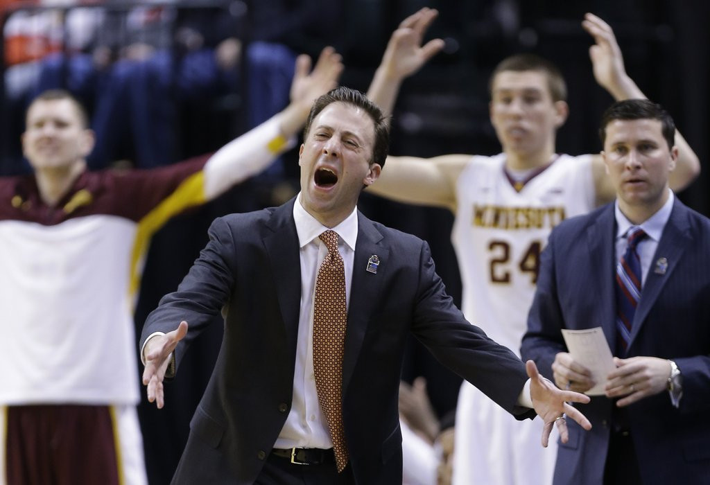 ". <p><b> Richard Pitino�s Minnesota Gophers, left out of the NCAA tournament because of inconsistent play, had to settle for playing in the � </b> <p> A. NIT <p> B. RIP <p> C. LOL <p><b><a href=\'http://www.twincities.com/sports/ci_25356312/gophers-miss-cut-ncaa-tournament\' target=""_blank\"">HUH?</a></b> <p>    (AP Photo/Michael Conroy)"