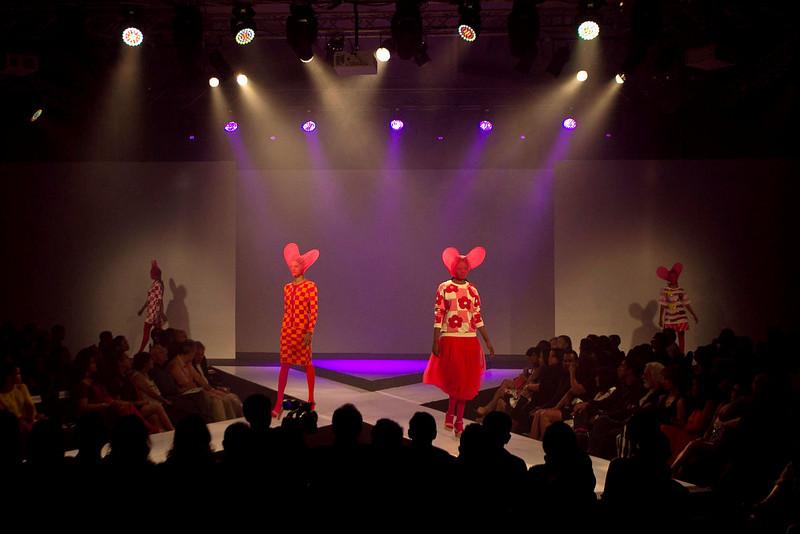 . In this Wednesday, April 3, 2013 photo, Sri Lankan models present creations by Spanish designer Agatha Ruiz De La Prada during Colombo Fashion Week in Colombo, Sri Lanka. (AP Photo/Eranga Jayawardena)