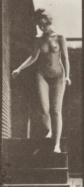 Nude woman descending stairs