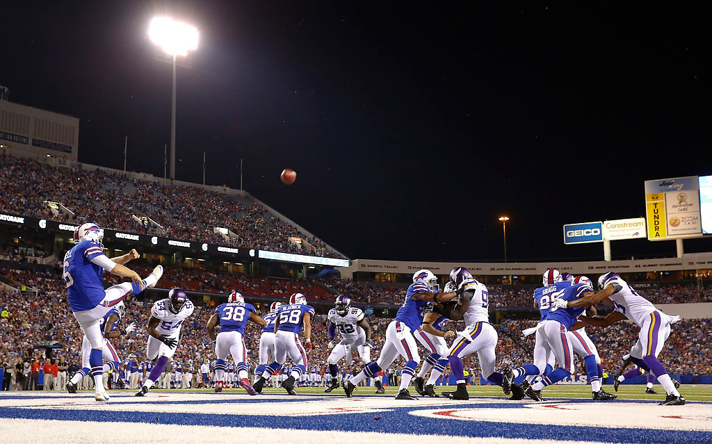 . Buffalo Bills\' Dustin Hopkins (5) punts the ball out of the end zone during the second half of an NFL preseason football game against the Minnesota Vikings Friday, Aug. 16, 2013, in Orchard Park, N.Y.  (AP Photo/Bill Wippert)
