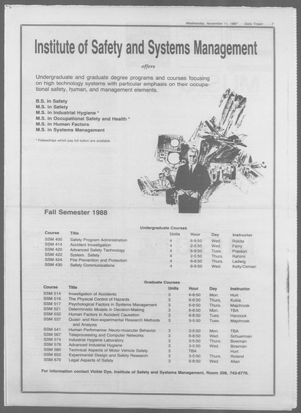Daily Trojan, Vol. 105, No. 49, November 11, 1987