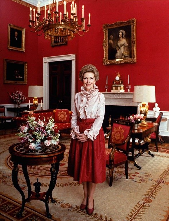 . First Lady Nancy Reagan is shown standing in the Red Room of the White House in this March 4, 1981 photo.  (AP Photo/HO)