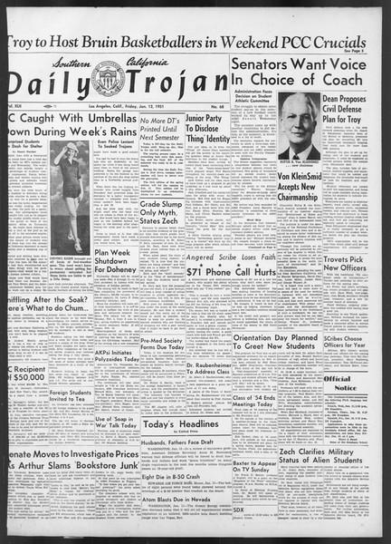 Daily Trojan, Vol. 42, No. 68, January 12, 1951