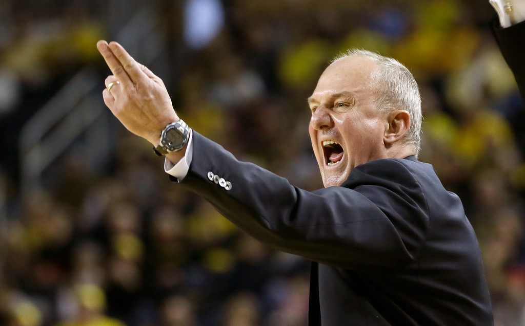 . Ohio State head coach Thad Matta signals from the bench during the second half of an NCAA college basketball game against Michigan, Sunday, Feb. 22, 2015 in Ann Arbor, Mich. Michigan defeated Ohio State 64-57. (AP Photo/Carlos Osorio)
