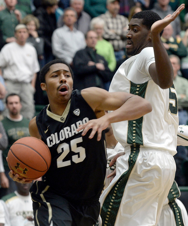 . Colorado\'s Spencer Dinwiddie drives past Gerson Santo during an NCAA game against CSU on Tuesday, Dec. 3, 2013, at the Moby Arena in Fort Collins. CU won the game 67-62. Jeremy Papasso/ Camera