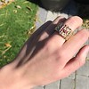 .38ctw Antique Diamond and Ruby Buckle Ring 18