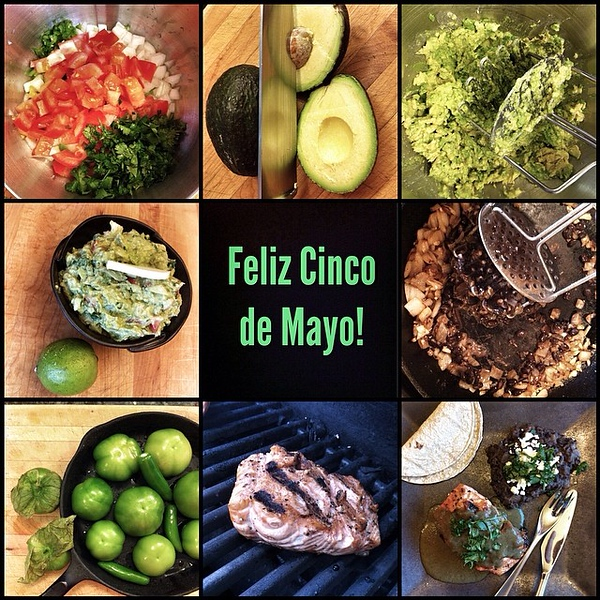 On the Table Tonite: Cinco de Mayo Fiesta! Guacamole and Chips; Grilled Alaskan King Salmon in Aromatic Green Pipián with Mexican Fried Beans #food #foodie #jux