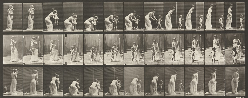 Semi-nude woman placing a child on the ground and the child running off (Animal Locomotion, 1887, plate 215)