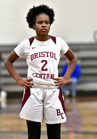 1/30/2020 Mike Orazzi   Staff Bristol Central's Damani Hough (2) during Thursday night's girls game with Manchester in Bristol.