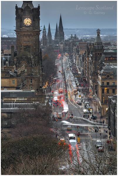 Princes Street and Balmoral Hotel clock tower from Calton Hill