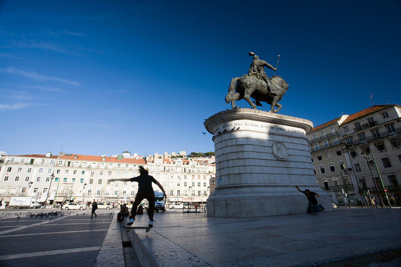 Skaters in Figueira square, Lisbon