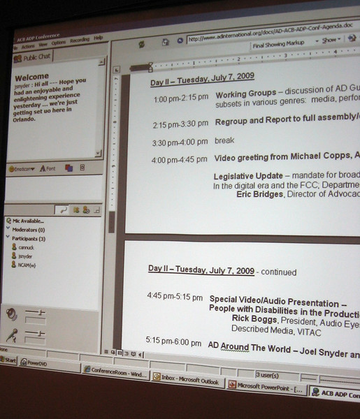 A screen was open at all times so comments from our virtual attendees could post text--they could also speak to the on-site registrants.