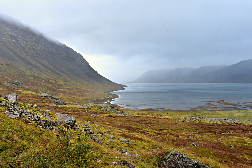 View of the fjord from Dynjandi Waterfall in West Fjords Iceland