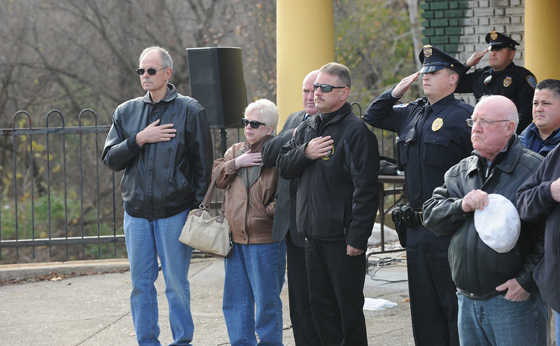 """Phillipsburg Police Department retired and active duty officers gathered for the ceremony. The Phillipsburg Police Department held a remembrance ceremony honoring fallen officer, Kenneth W. """"Red"""" Vandegrift who died in the line of duty Nov. 20, 1930. The ceremony was at the bridge on South Main Street that bears his name."""