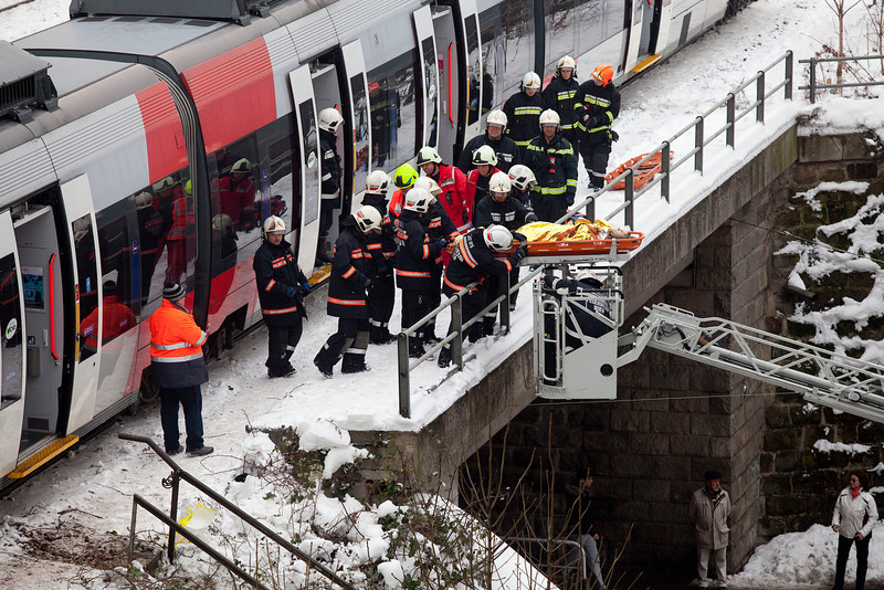 . Firefighters secure the site where two trains of the line S45 crashed on January 21, 2013 in Vienna, Austria AFP PHOTO / DIETER NAGLDIETER NAGL/AFP/Getty Images