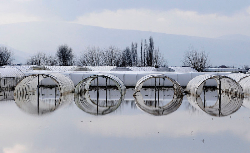 . A view shows a flooded garden in the village of Murtino, 180 km east of capital Skopje February 27, 2013. One man drowned and several hundred homes in Macedonia were flooded on Tuesday as two days of heavy rain drenched farmland and caused power outages in the Balkan country, authorities said. REUTERS/Ognen Teofilovski