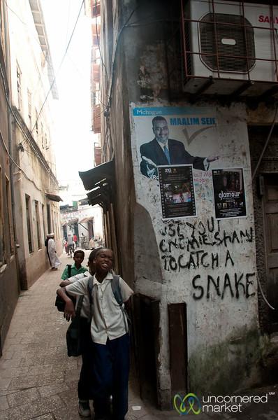 Kids and Graffiti - Stone Town, Zanzibar