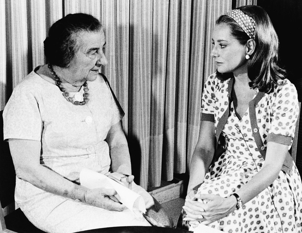 ". ""I cannot believe the U.S. government or the U.S. people would sell out Israel for oil; I know the American people too well,\"" declared Prime Minister Golda Meir of Israel during an interview with Barbara Walters, at right, on September  1973 in Jerusalem.  The interview, to be aired on the NBC television network\'s \""Today\"" program, September 13, 1973 was taped in Jerusalem, and Mrs. Meir was responding to a question about the pressure by the oil-rich Arab nations in view of the fuel shortage.    (AP Photo/NBC)"